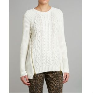Micheal Micheal Kors Side Zip Cable Knit Sweater
